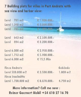 7 Meerblick-Baugrundstücke ab 650 m2 - 6.000 m2 Puerto de Andratx